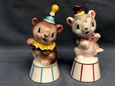 Vintage Pair of Salt and Pepper Shakers-Circus Mice