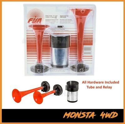 Fisa  Italian Made Twin Air Horn New For Car Truck 12V 12 Volt Red