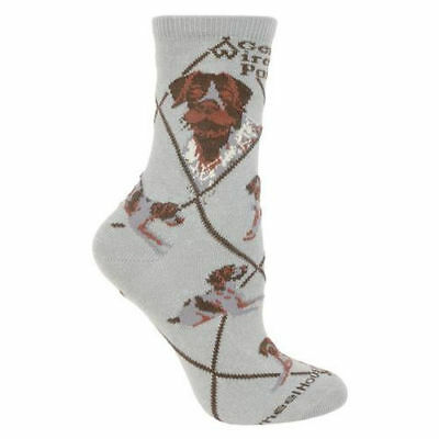 German Wirehaired Pointer Dog Breed Gray Lightweight Stretch Cotton Adult Socks