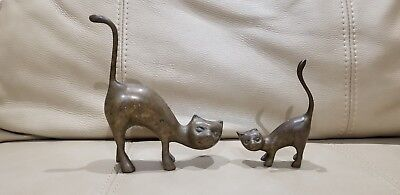 "Two (2) Vintage Solid Brass Cat Feline Statue Figurines, Heights: 5.5"" & 3 3/4"""