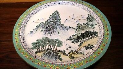 Vintage Chinese Asian Hand Painted Enamel on Copper Dish Plate Mountain Scene