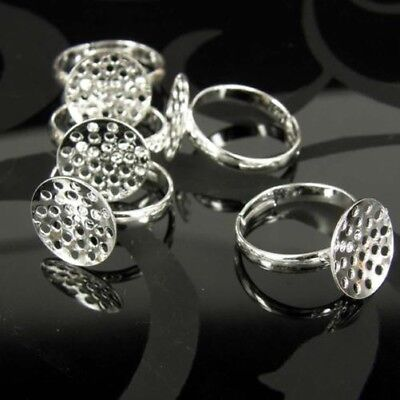10 20 50 Silver Plated Best Quality Adjustable Ring Blanks Sieve 20 Mm Base Gu20