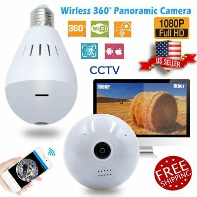 360 Degree Wifi Panoramic HD 1080P Hidden IR Camera Light Bulb Security FishEye