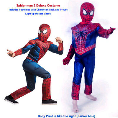 Spider-Man Costume Light Up Deluxe Child Muscle Boys Halloween 6+ Free Gloves