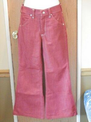 Vintage Girls Toughskins sz. 14 slim red/rust Bell Bottoms 1970's Growing Girl