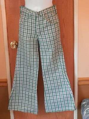 Vintage Girls Toughskins sz. 12 slim Green Blue Bell Bottoms 1970's Growing Girl