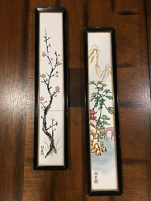 Vintage CDGC Japanese Hand Decorated Ceramic Tiles in Wood Frame