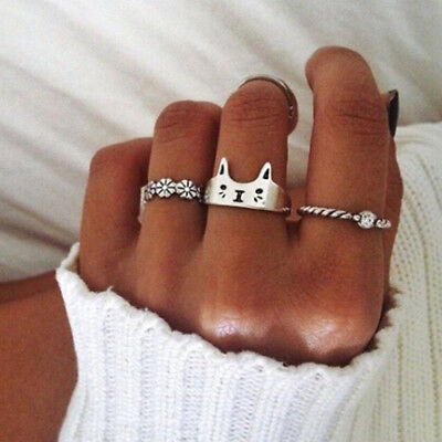 Cat Open Finger Ring Sterling 925 Silver Plated Chic Women Rings Jewelry Use