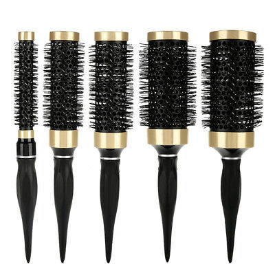 New 5pcs Ceramic Ionic Round Comb Barber Hairdressing Salon Styling Brush Barrel