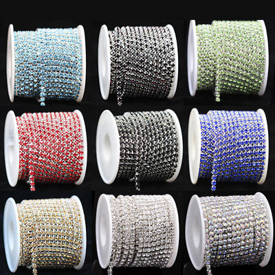 ss12 3mm Colors Crystal Rhinestone Close silver Chain Trims Sewing Wedding Craft