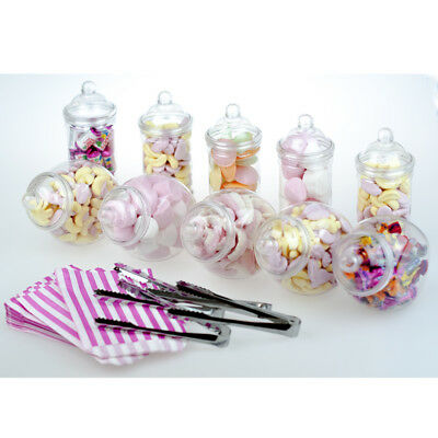 10x Small Jars Sweet Shop Candy Buffet Wedding Kids Party Kit + 4 Tongs 100 Bags