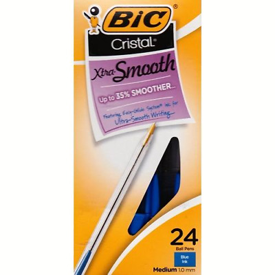 BIC Cristal Xtra Smooth Writing Blue Ball Point Ink Pens - Medium (24 Pack)