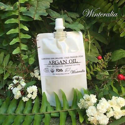 50ml - Certified 100% Organic PURE MOROCCAN ARGAN OIL -Cold Pressed