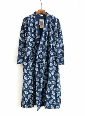 AU Cotton Soft Mens Kimono Yukata Pajamas Japanese Bathrobe Robe Gown Nightwear