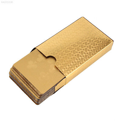 2B32 Geometric Waterproof 24K Gold Foil Poker Playing Cards For Casino Party Dur