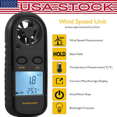 Digital LCD Anemometer Thermomoter Handheld Wind Speed Meter For Surfing Sailing