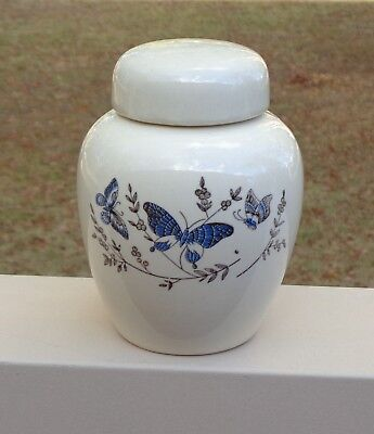 Lovely Vintage Ginger Jar *Cream with Blue Butterflies