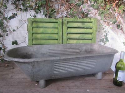 Vintage Tin Bath Tub Galvanised Baby Bath Roll Top Planter Free Postage