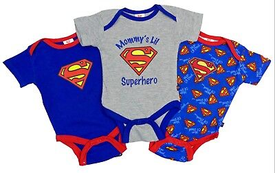 Baby Boys Superman 3 Pack Vest Bodysuits 0-3 Months Only Great Baby Gift