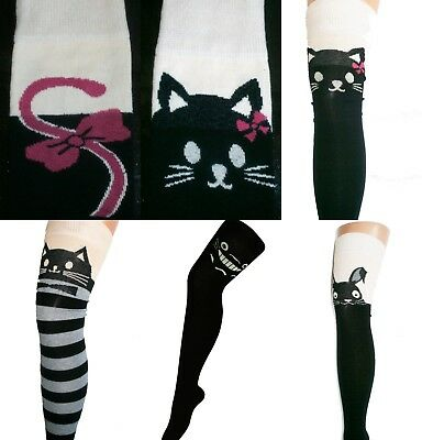 df94bd2681e Cotton Over Knee Thigh High Long Socks Totoro Catbus Kitty Bow Tail Cat  Rabbit