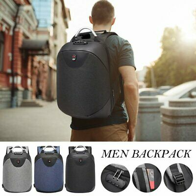 Mens Anti-Theft Laptop Backpack Travel School Bag Rucksack+ USB Port +Coded Lock