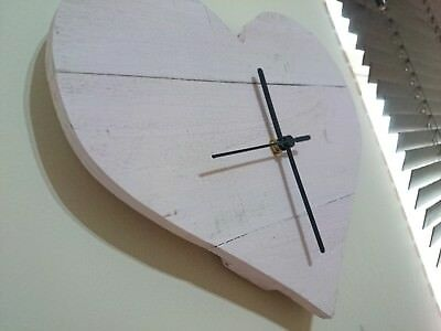 Unique rustic recycled heart shaped wooden clock with pink finish & black hands
