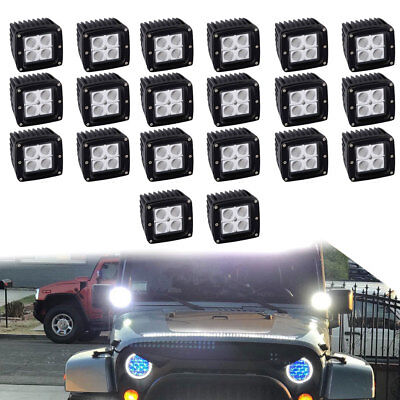 20X 4inch 27W Led Work Light Pods Spot Bumper Driving For Dodge Ram Pickup Truck