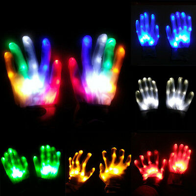 LED Flashing Finger Light Up Gloves Lighting Xmas Rave Party Dance Skeleton CG