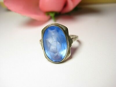 Finger Ring Antique Blue Stone 10 x 16 mm Art Nouveau Style Jewelry 835 Silver