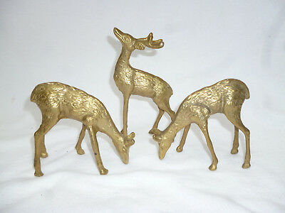 VINTAGE CAST BRASS 3 DEER FIGURES - very good condition - Stag & 2 Does
