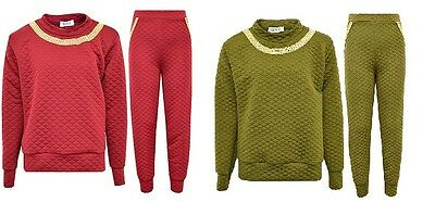 New Girls Kids Quilted Tracksuit Outfit Leggings & Jumper Top Red Green Age 7-13
