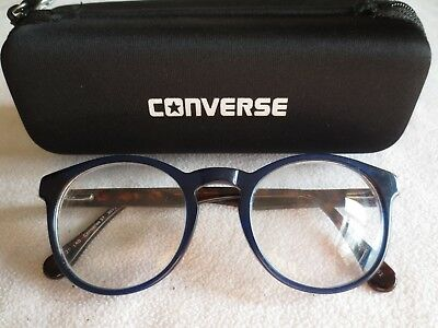 Converse 37 blue / brown tortoiseshell glasses frames. With case.