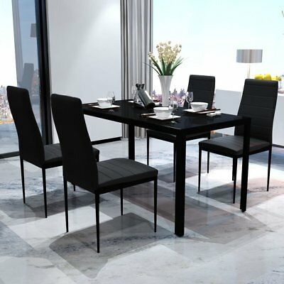 Black Glass Dining Set Table and 4 Faux Leather Padded Chairs Kitchen Furniture