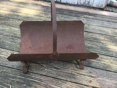 ANTIQUE PRIMITIVE RUSTY FIREPLACE BASKET LOG  HOLDER WOOD EARLY 1900's