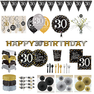 30th Birthday Decorations Black Gold Silver Banner Fans Bunting Swirls Stars