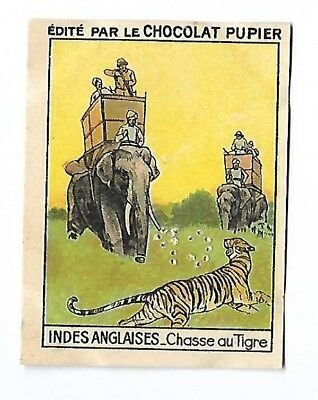 Indes Anglaises - Chasse au tigre - Image chocolat Pupier - French Card