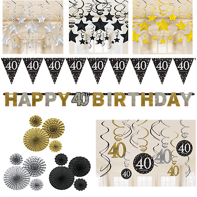 40th Birthday Decorations Black Gold Silver Banner Fans Bunting Swirls Stars