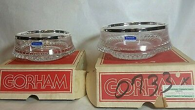 "2 rare vintage GORHAM FULL LEAD CRYSTAL glass bowls & boxes germany 6"" & 7"" dish"