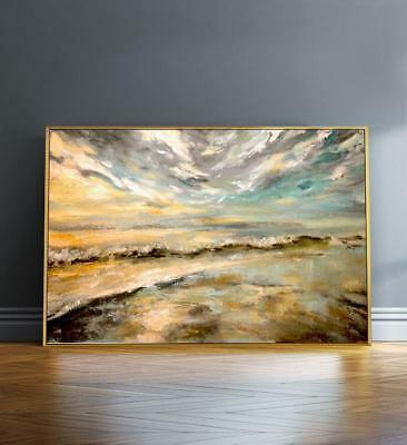 HH349# Modern 100% Hand-painted Abstract Scenery oil painting Sunset Art Canvas