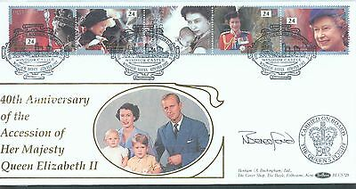Great Britain 1992 Happy andGlorious FDC signed Captain of Queens Flight