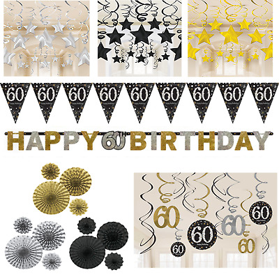 60th Birthday Decorations Black Gold Silver Banner Fans Bunting Swirls Stars