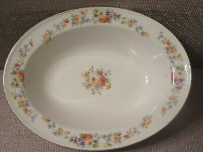 Vintage Edwin M. Knowles China Hostess Shape Flower Oval Bowl