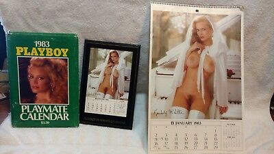 2 Vintage 1983 Playboy Calender's One Desk Top One Wall Hanging Good Condition