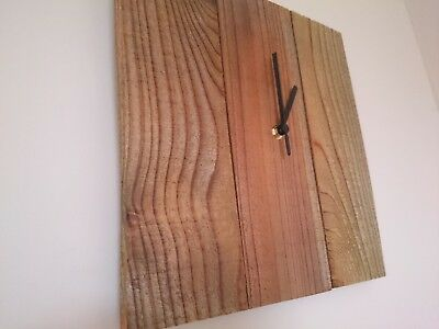 Rustic square recycled wooden wall clock with teak oil finish and black hands