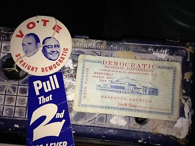 1964 Democratic Convention ticket and cardboard tag