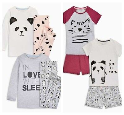 NEXT Pyjamas Girls Age 3 Panda Cat  2 Piece Set Long legs or Shorts BNWT