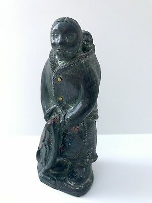 "8.5"" Genuine Inuit Soapstone Eskimo Woman & Child Papoose A Wolfe Original"