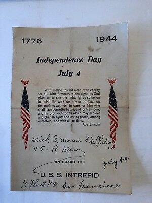 U.S.S. Intrepid - July 4, 1944 Menu Folder
