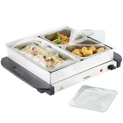 200W 3 Pan Buffet Server Food warmer Set For Friends & Family Non stick New
