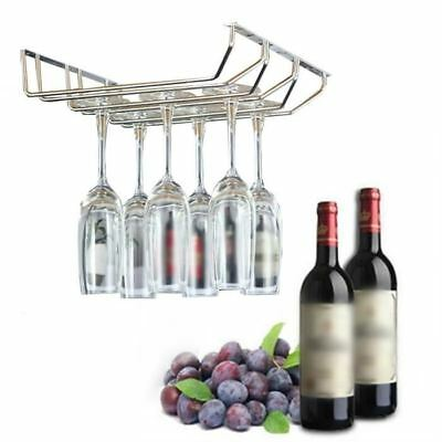 3-row Wine Champagne Glass Cup Rack Under Cabinet Hanging Stemware Hanger Holder